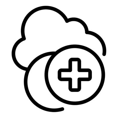 Add data cloud icon, outline style 矢量图像