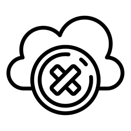 Rejected data cloud icon, outline style 向量圖像