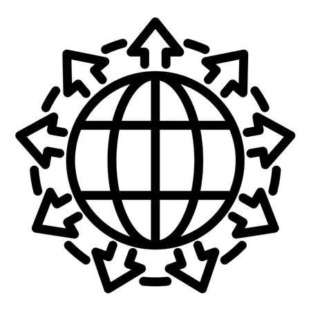 Full global network icon, outline style 矢量图像