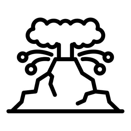 Volcano eruption icon, outline style