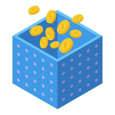 Money gift box icon, isometric style