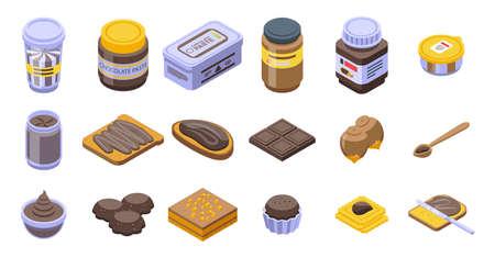 Chocolate paste icons set, isometric style