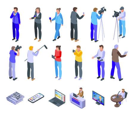 Reportage icons set, isometric style Vektorové ilustrace