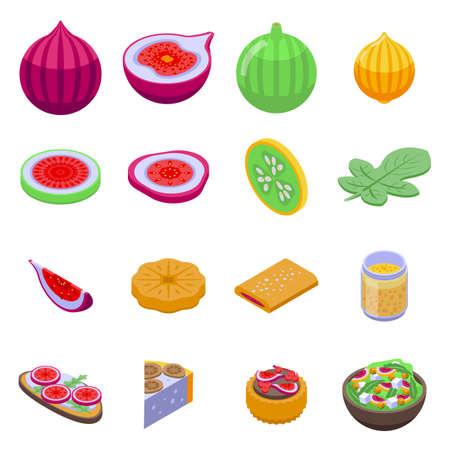 Figs icons set, isometric style