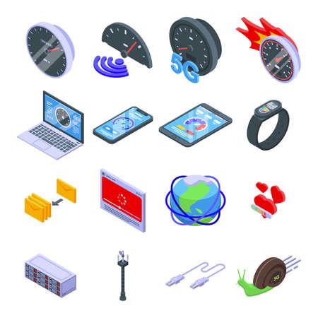 Internet speed icons set, isometric style