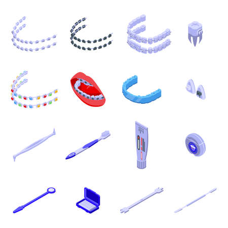 Tooth braces icons set, isometric style Ilustracja