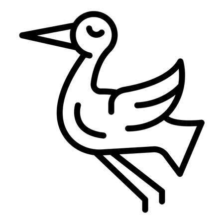 Dancing stork icon, outline style