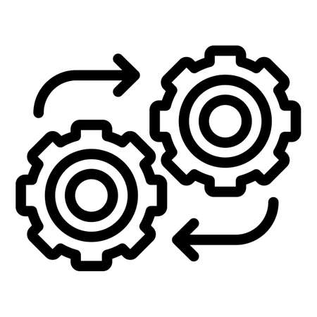 Adaptation gear wheel icon, outline style