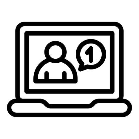 Laptop online request icon, outline style
