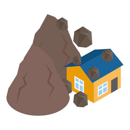 Landslide icon, isometric style