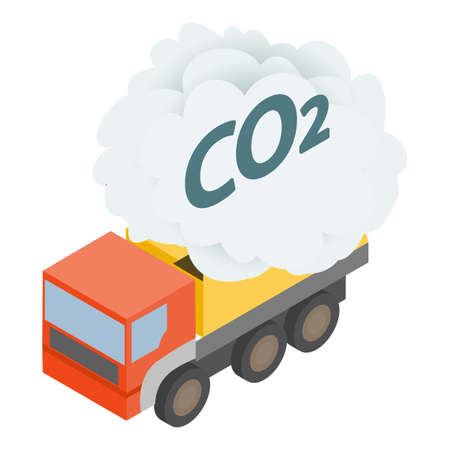 Truck exhaust icon, isometric style 矢量图像