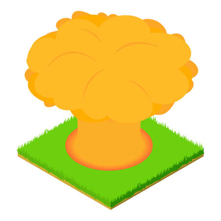 Nuclear explosion icon, isometric style