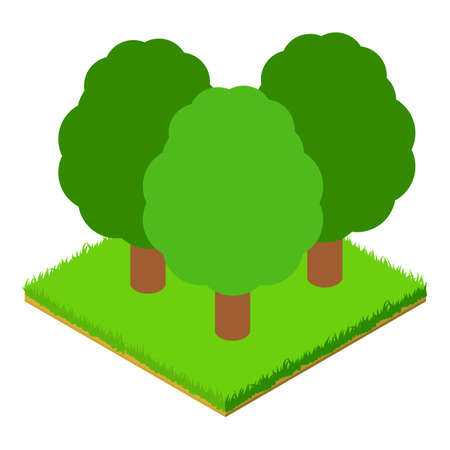 Deciduous forest icon, isometric style 向量圖像