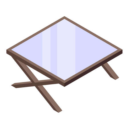 Cozy home reading table icon, isometric style  イラスト・ベクター素材