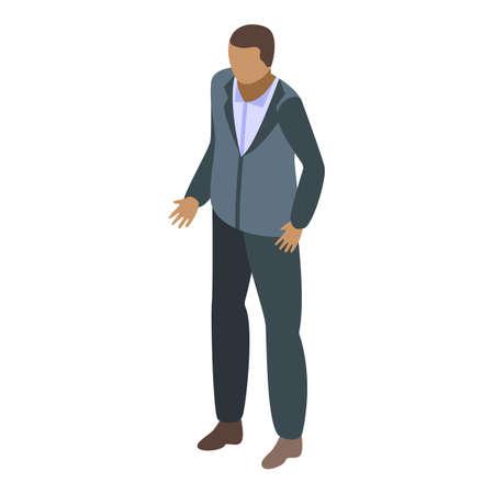 African businessman icon, isometric style Illustration