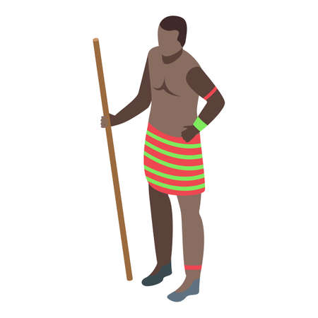 African tribal man icon, isometric style