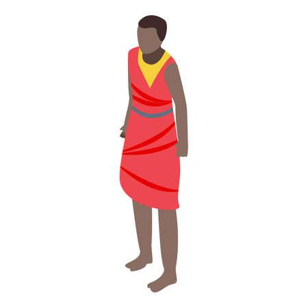 African ethnic people icon, isometric style