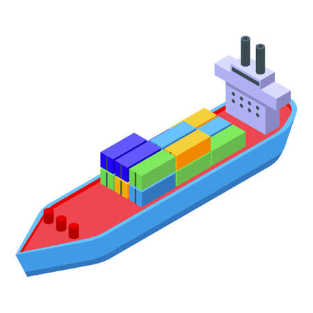 Cargo container ship icon, isometric style