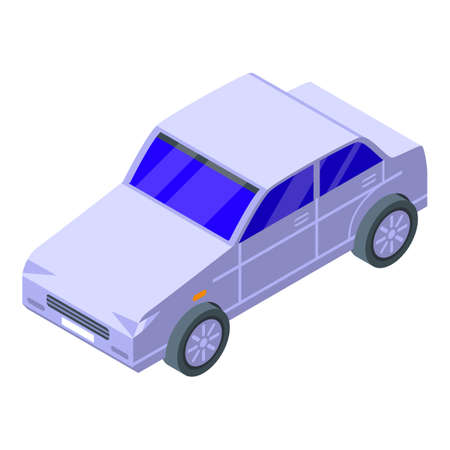 Car pollution icon, isometric style 矢量图像