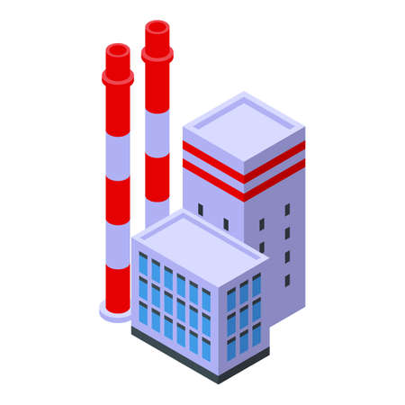 Factory pollution icon, isometric style