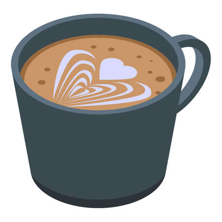 Coffee cup icon, isometric style 矢量图像