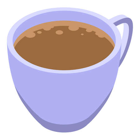 Latte coffee cup icon, isometric style