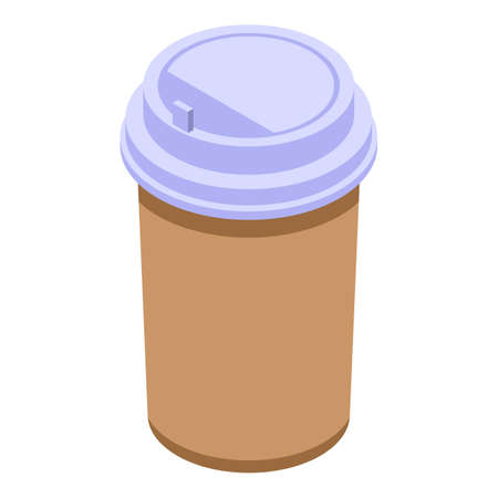 Coffee plastic cup icon, isometric style