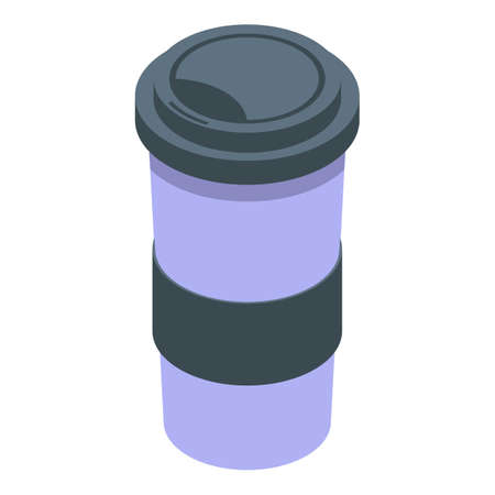 Morning coffee cup icon, isometric style