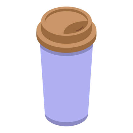 Chocolate coffee cup icon, isometric style 矢量图像