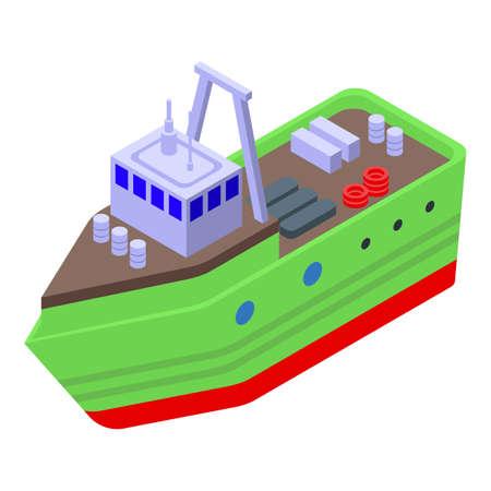 Fishing cargo ship icon, isometric style Çizim