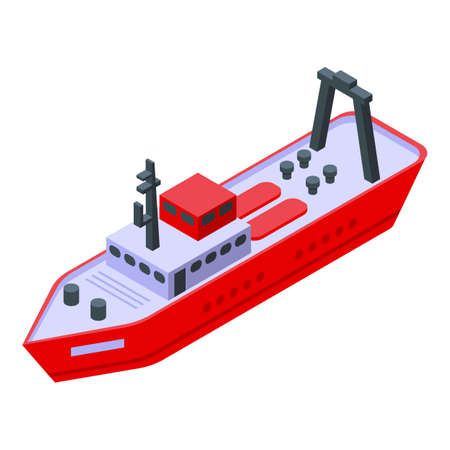 Trawler fishing ship icon, isometric style 向量圖像