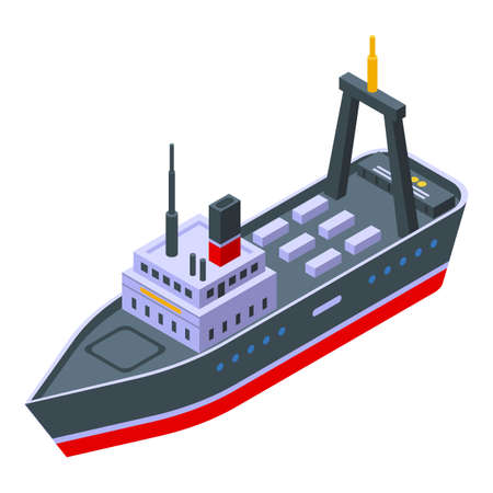 Catch fishing ship icon, isometric style