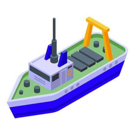 Commercial fishing ship icon, isometric style 向量圖像