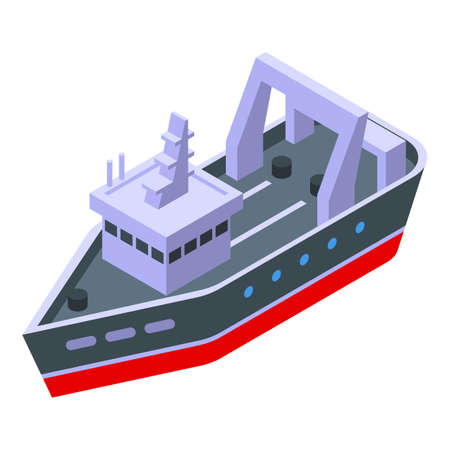 Speed fishing ship icon, isometric style