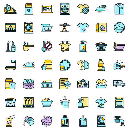 Dry cleaning icons set vector flat 矢量图像