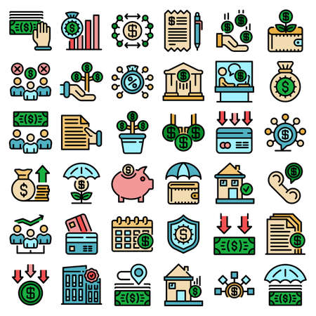 Subsidy icons set vector flat