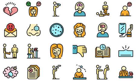 Teen problems icons set vector flat 矢量图像