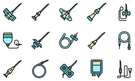 Catheter icons set vector flat