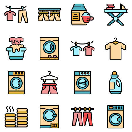 Tumble dryer icons set vector flat