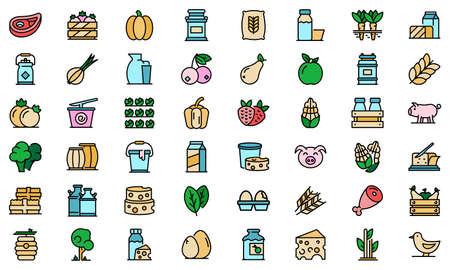 Farm products icons set vector flat 일러스트