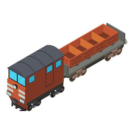 Freight train icon, isometric style Ilustrace
