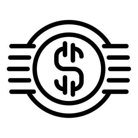 Business dollar icon, outline style