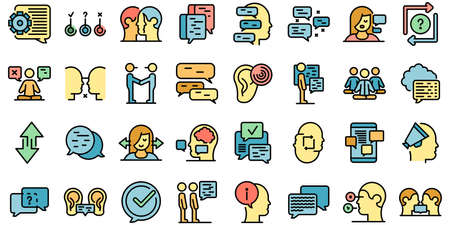 Discussion icons set vector flat