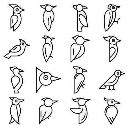 Woodpecker icons set, outline style