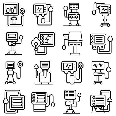 Ventilator Medical Machine icons set, outline style