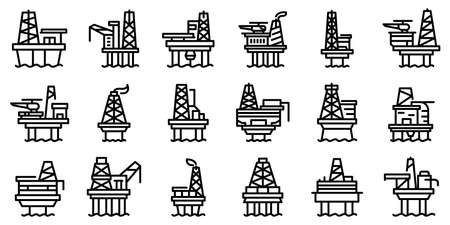 Sea drilling rig icons set, outline style