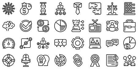 Business collaboration icons set, outline style Ilustração