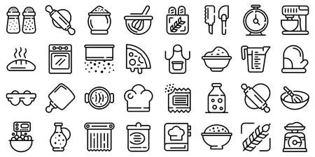 Dough icons set, outline style