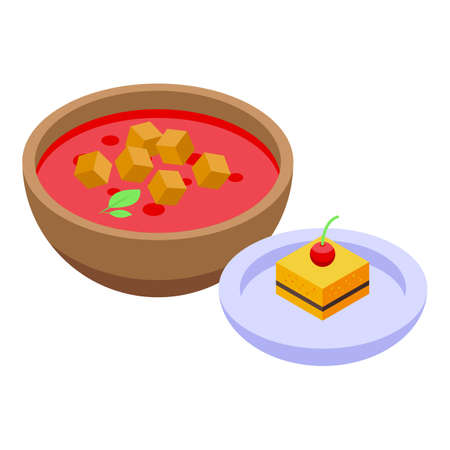 Lunch red soup icon, isometric style