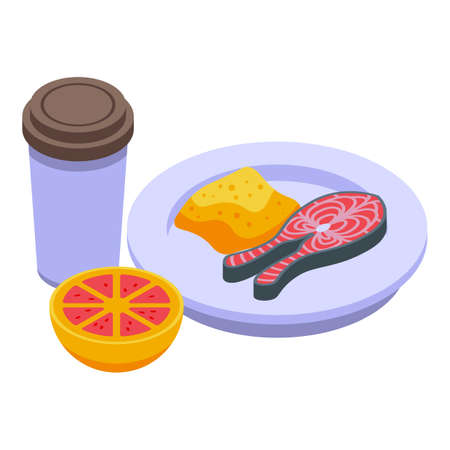 Lunch fish and coffee icon, isometric style